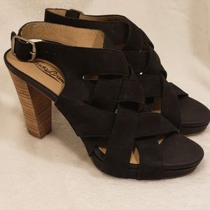 Lucky Brand Black Leather Heeled Sandals